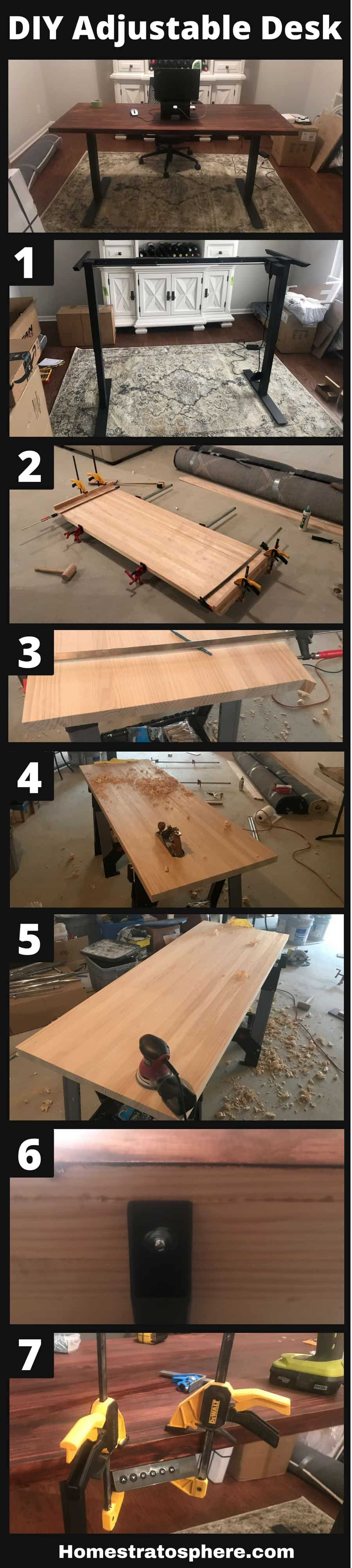 Step-by-step graphic for building an adjustable standing desk