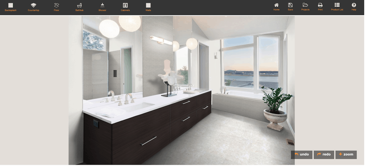 Formica bathroom design software and visualizer