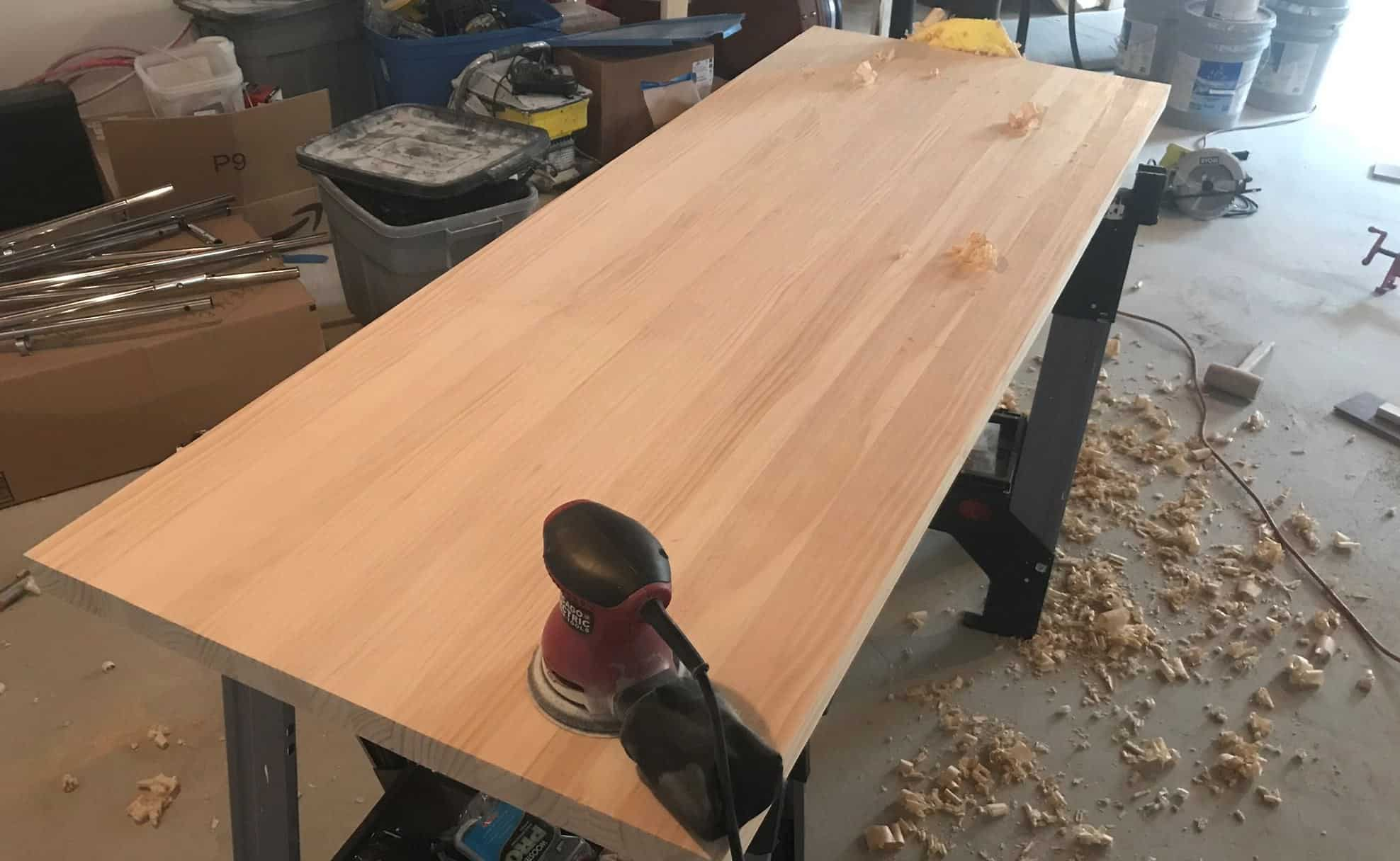 Sanding wood top of DiY standing table desk