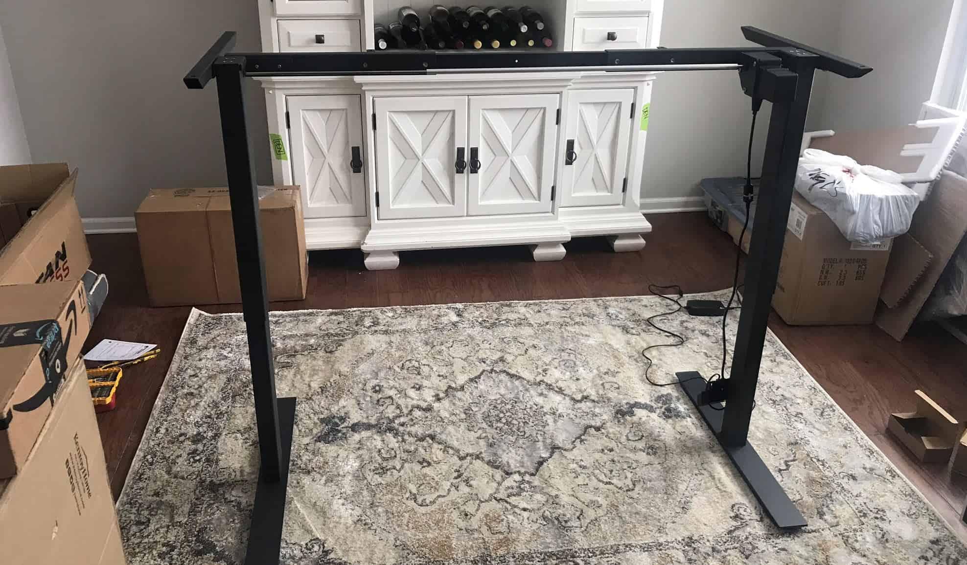 DIY adjustable standing desk frame