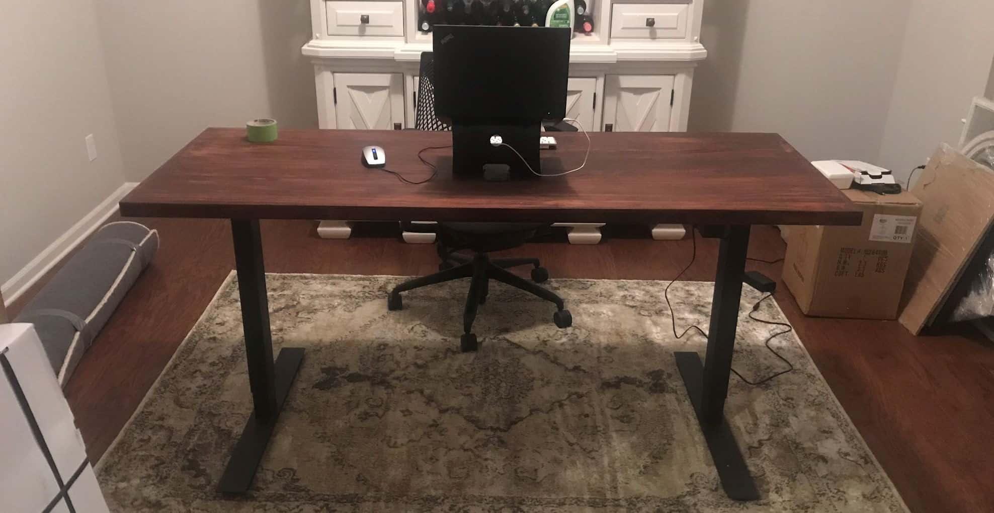 Finished result of DIY adjustable standing table desk
