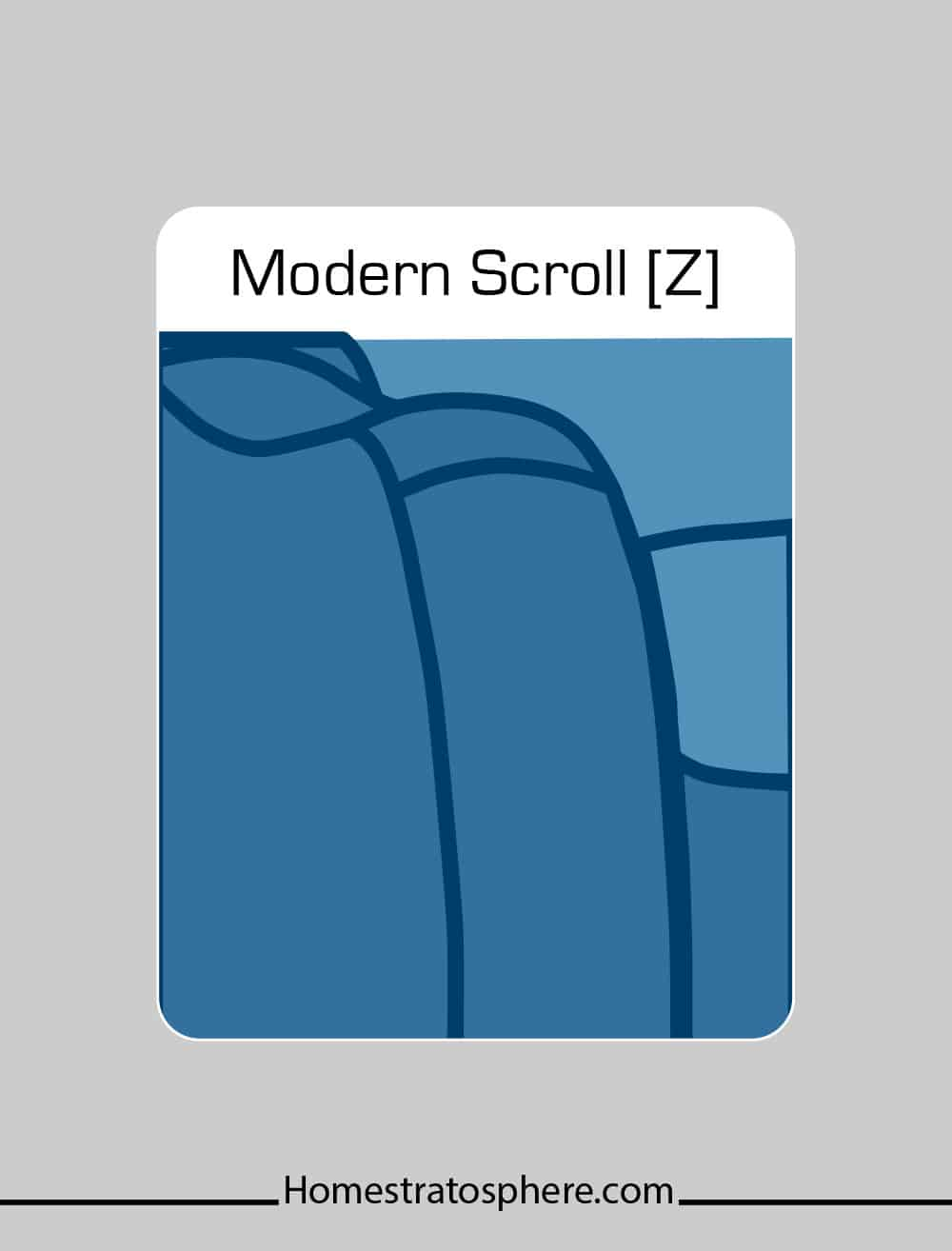 Modern scroll couch arm style