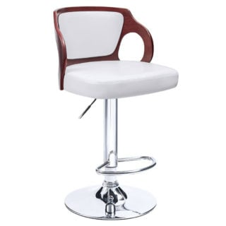 Contemporary swivel bar stool with white vinyl sponge seat and comfortable back rest pad.