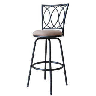 Adjustable metal bar stool with powder coated antique black finish and contemporary design.
