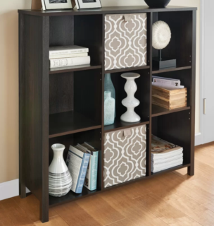 Premium adjustable 9-cube unit bookcase in black walnut finish with laminated wood frame material.