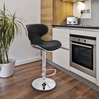 Adjustable swivel bar stool with saddle style seat and foam seating in chrome base finish.