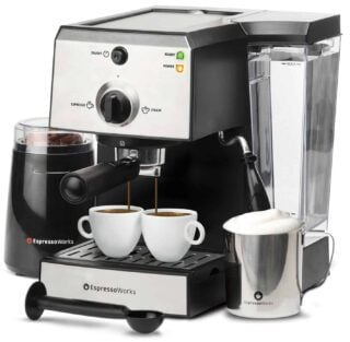 All-in-one Espresso and Cappucino machine with coffee bean grinder and portafilter together with stainless steel frothing cup and measuring spoon.