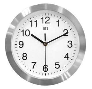 Aluminum glass frame wall clock with Quartz sweep movement function.