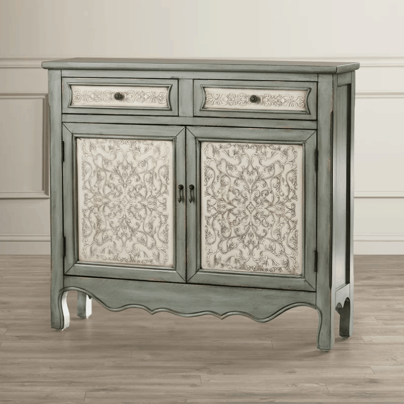 2 door antique cabinet with laminated wood construction and pendant pulls cabinet handle design.