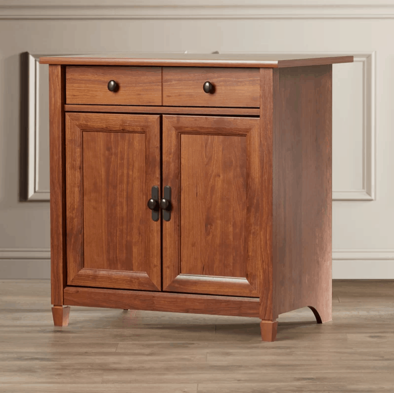 2 door accent cabinet with auburn cherry finish and adjustable interior shelves.