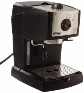 Bar pump espresso and cappucino maker with swivel jet frother and self-priming operation system.