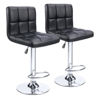 Swivel black bar stool with adjustable hydraulic feature and black boned leather around seat and back.