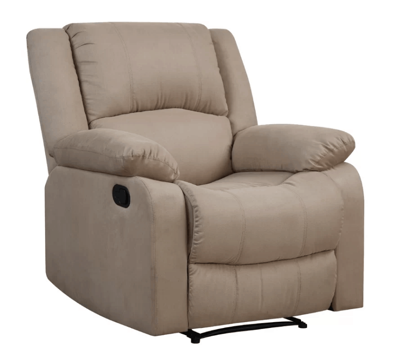Beige large recliner chair with microfiber upholstery and foam seating fill material.