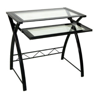 Black and clear computer desk with power-coated steel frame and clear tempered glass shelves.