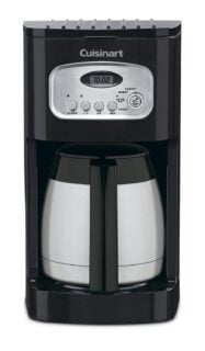 Black classic thermal programmable coffee maker with charcoal water filter and permanent gold tone filter.