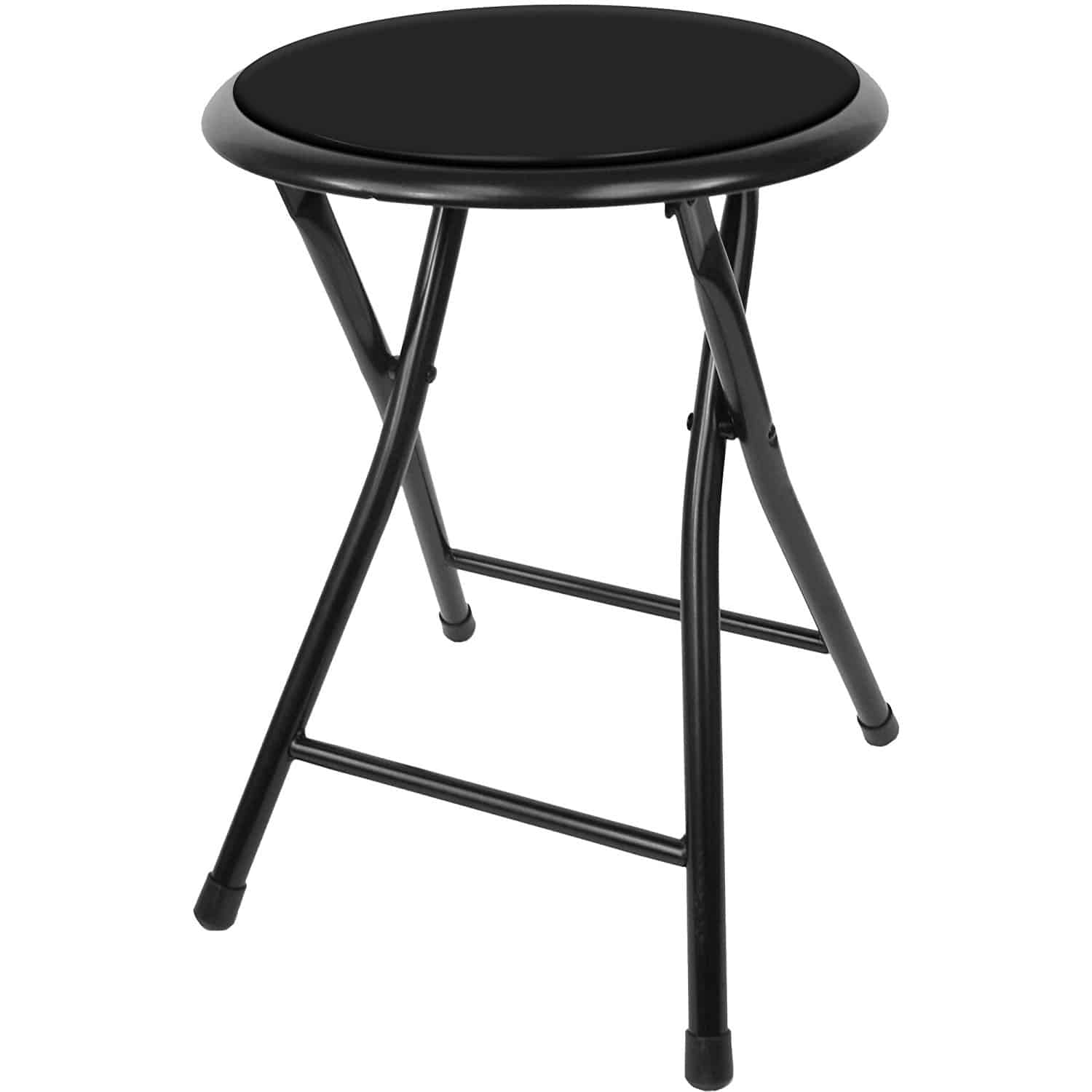 Folding stool with tough steel frame and black cushioned seat.