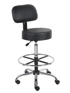 Black drafting stool with back rest and adjustable seat height.