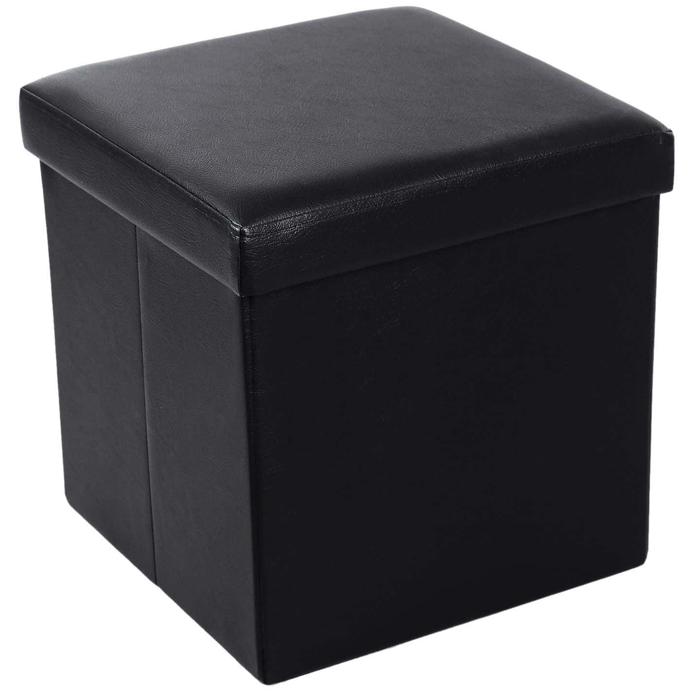 Cube Storage Ottoman Made With Faux Leather And Foldable Function.