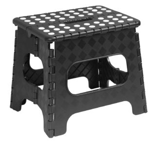 Black folding stool with anti-slip feature and built-in handle.
