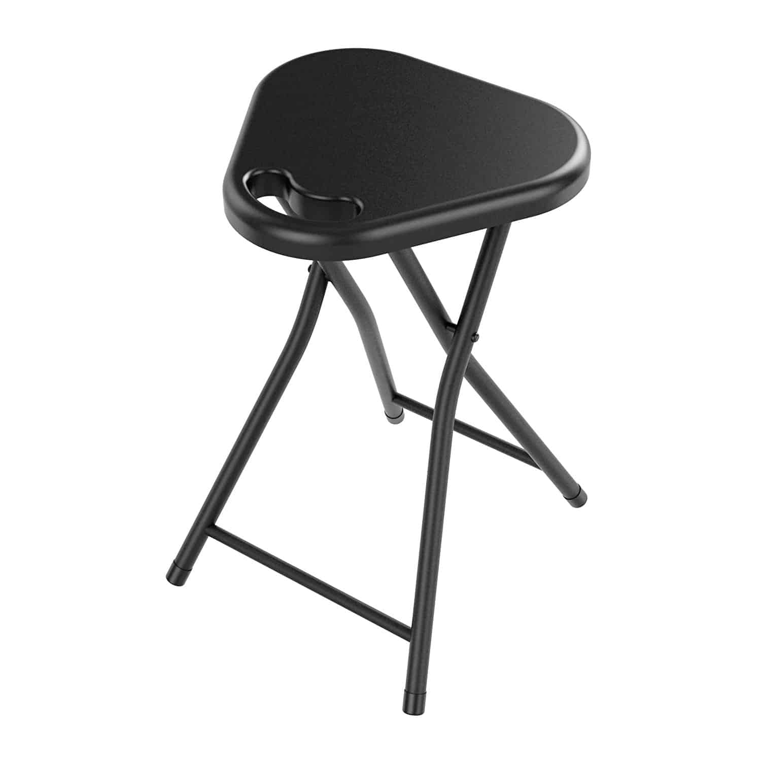 Black folding stool with unique triangular seat shape and durable metal legs.