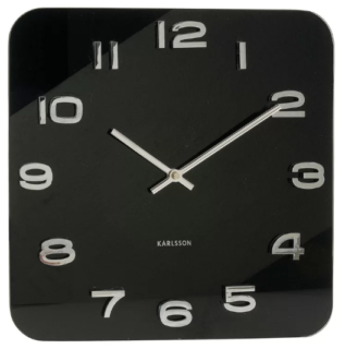 Vintage square wall clock with frameless design and black face.