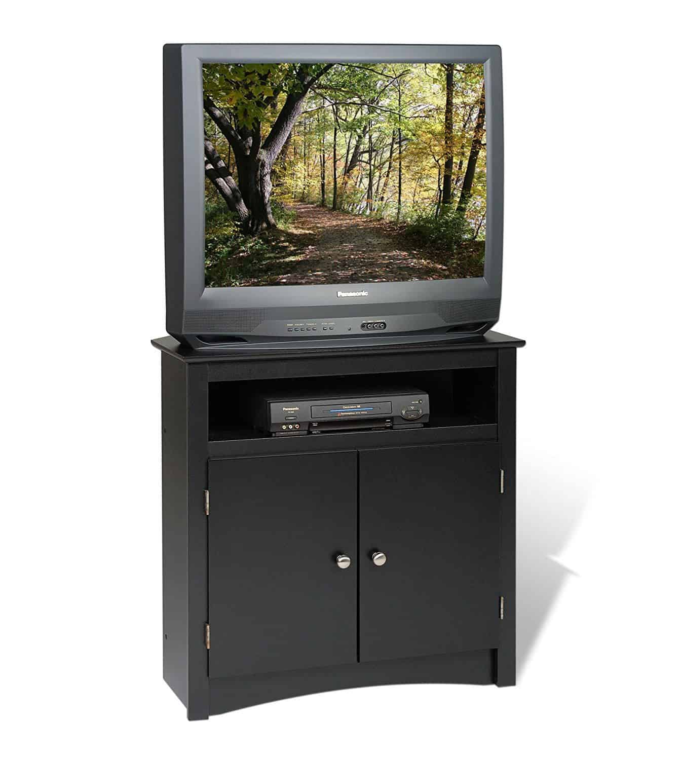 Black corner TV stand with laminated composite wood and storage.