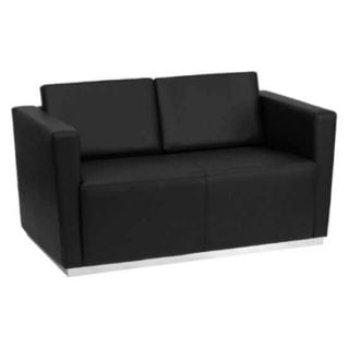 A durable and easy-to-clean loveseat in a black leather finish.