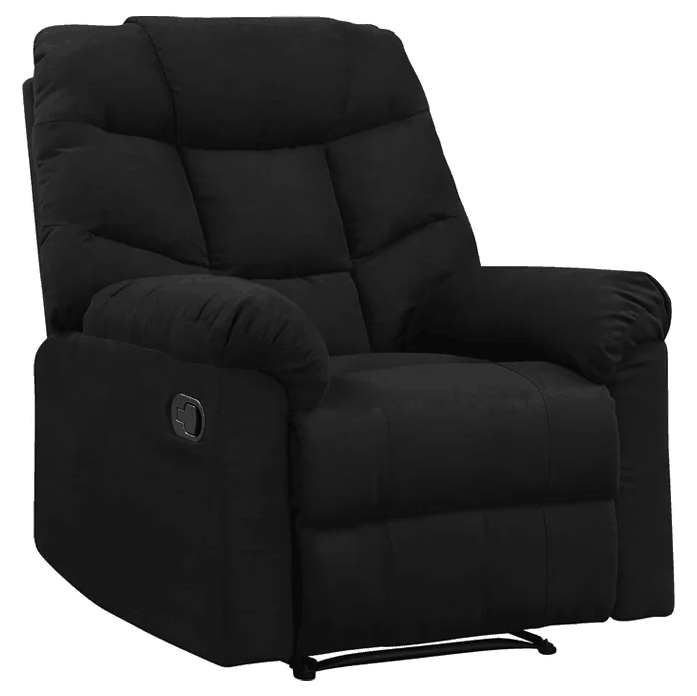 Black manual recliner with 2-position type and wall hugger motion type.