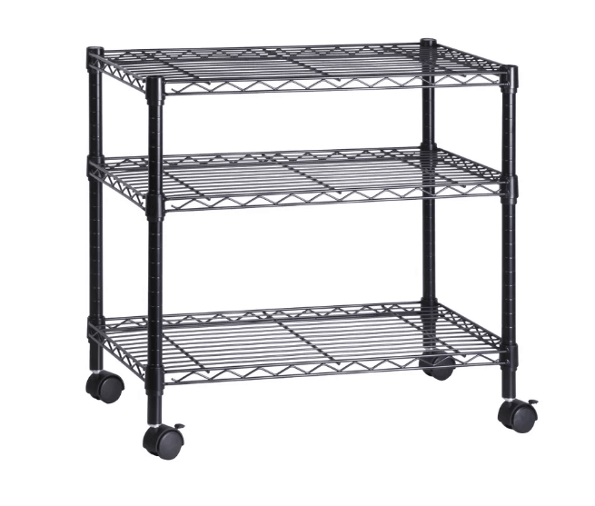 Black TV stand with metal built and adjustable open shelves.