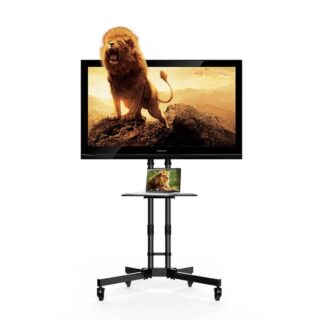 Black mobile TV cart stand with adjustable TV screen height.