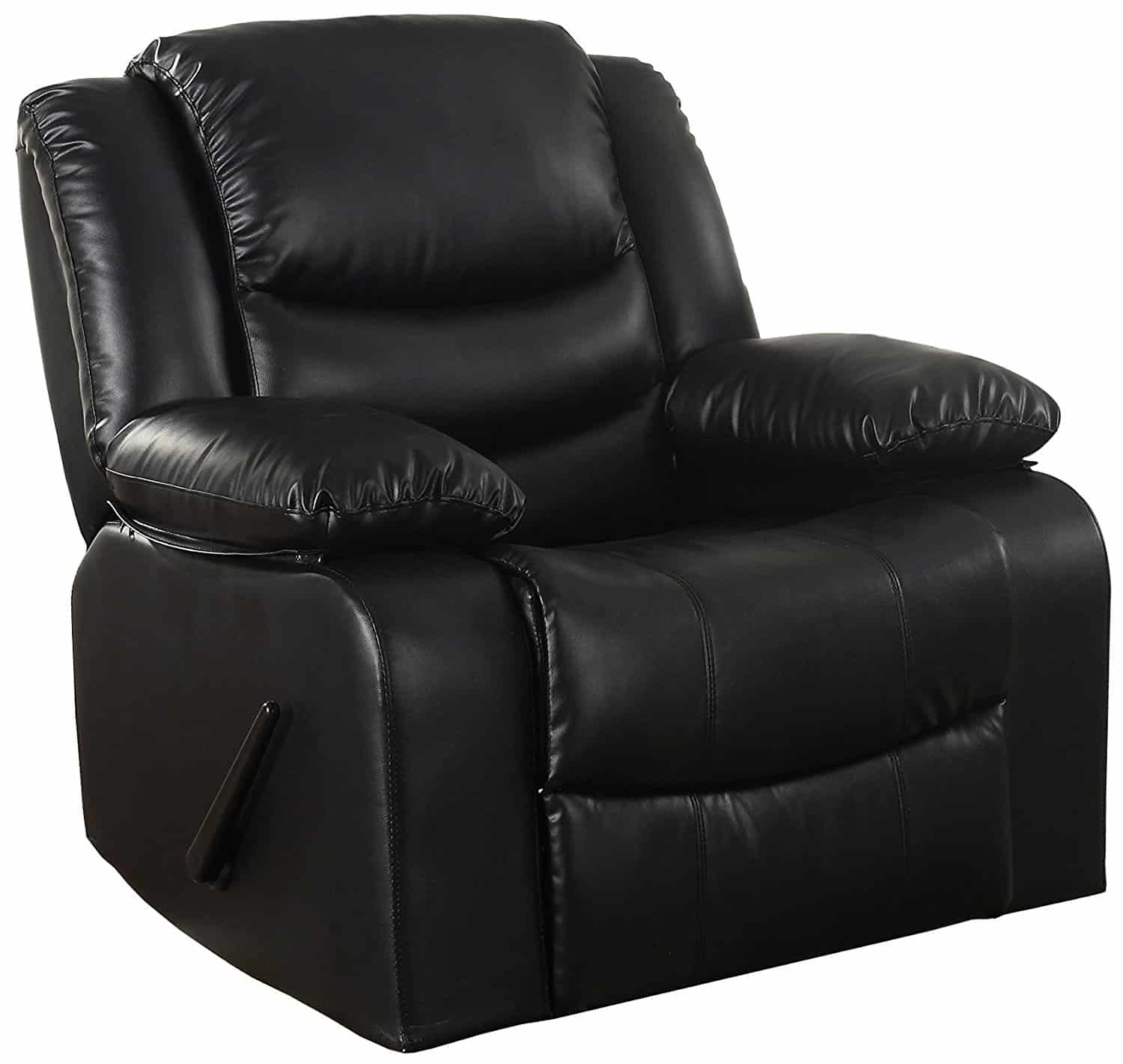 Black reclining rocker with bonded leather upholstery and overstuffed padded seat and arm rests.