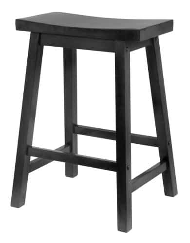 Black counter stool with saddle seat and wide contoured top design.