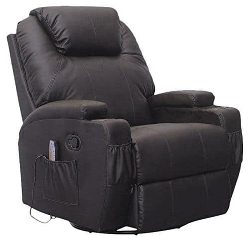 Black swivel heated large recliner with adjustable back and head rest and 360 degree swivel system.