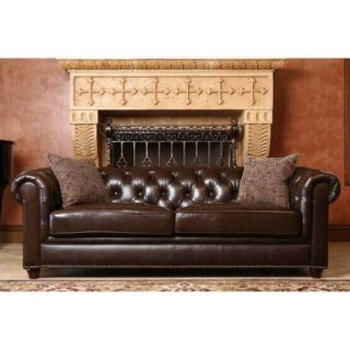 Chocolate brown sofa made out of genuine leather.