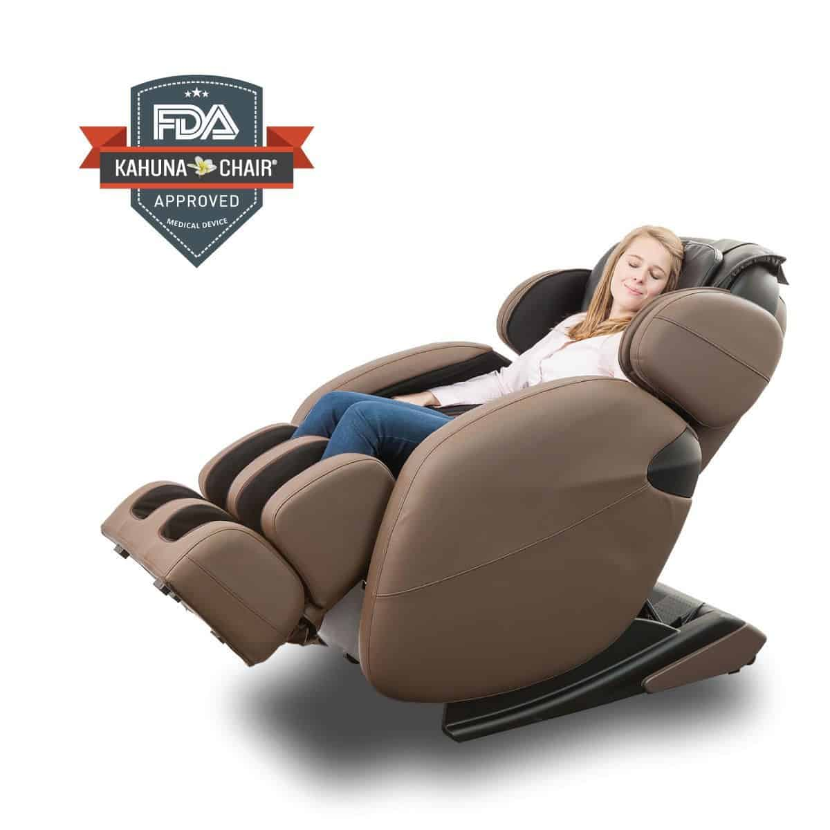 Brown large massage recliner chair with L-track massage system and heating therapy feature.