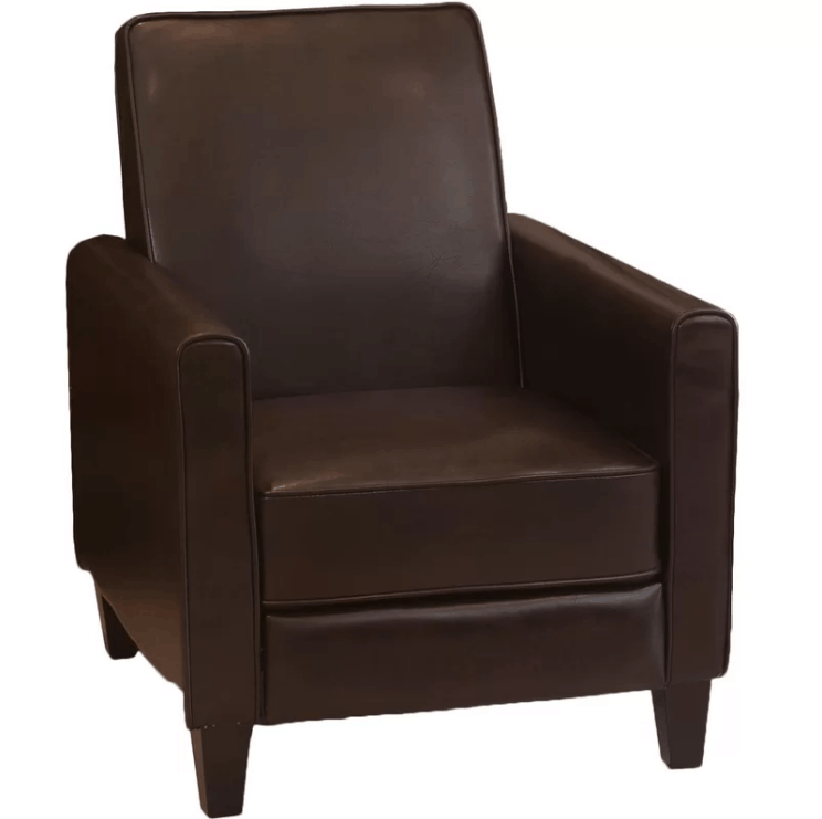 Brown manual club reclining chair with 3-position type and firm seating comfort.