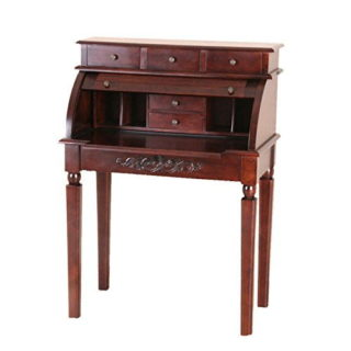 Hardwood brown stain desk with roll top function and three drawers on top.