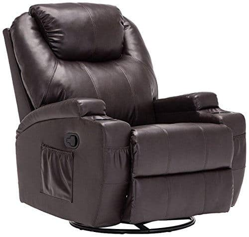Brown leather reclining massage chair with 360 degree swivel movement and 8-point massage and heating system.