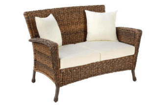 A loveseat with an all-weather coating, great for outdoor use too.