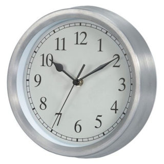 Traditional round wall clock with brushed steel finish along with classic white face and black numerals.