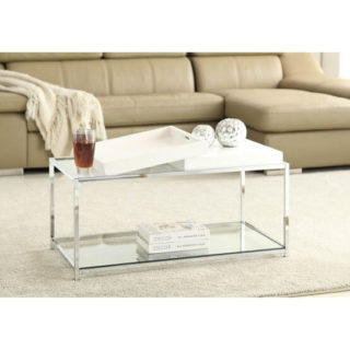 A rectangular coffee table made of steel and glass looking very contemporary.