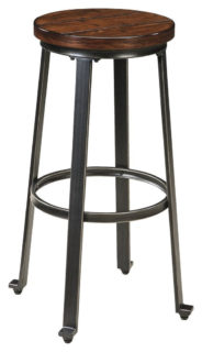 Challiman bar stool with rustic wooden seat and metal frame.