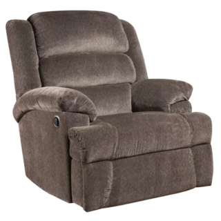 Charcoal standard recliner with microfiber upholstery material and manual lever reclining function.