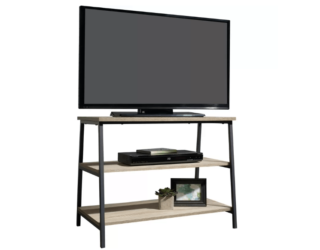 Charter oak finish TV stand with metal frame and open shelving.