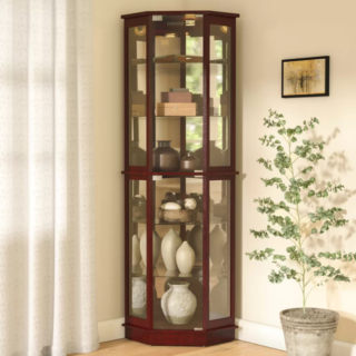 Biali lighted corner curio cabinet with cherry finish and solid wood and metal materials.