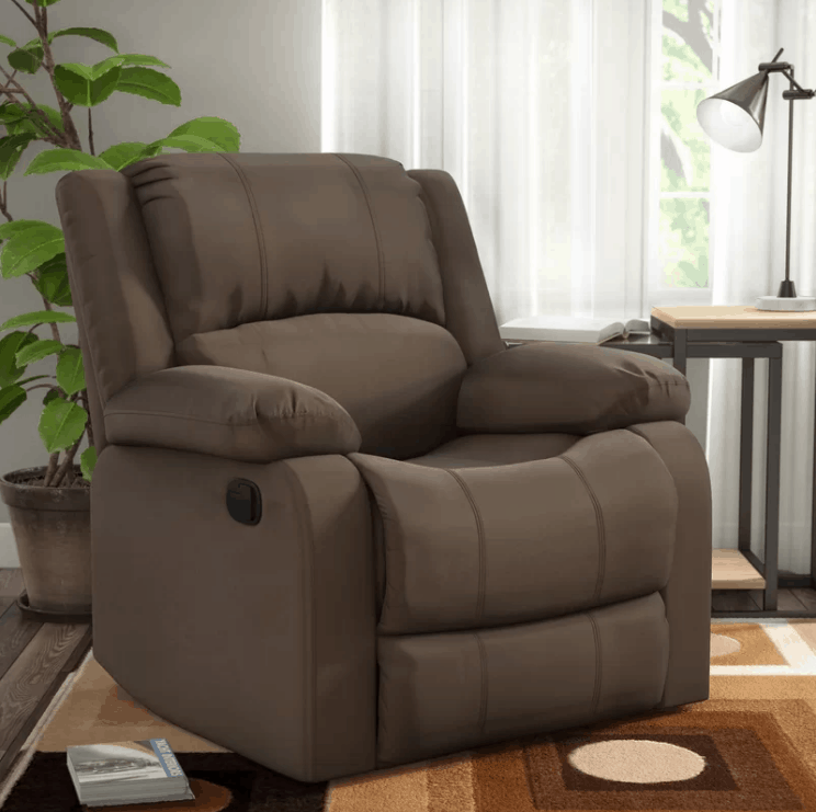 Chocolate manual recliner with 2-position type and soft foam seat cushion fill.