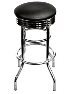 Swivel bar stool with high gloss chrome finish on frame and double ring design.