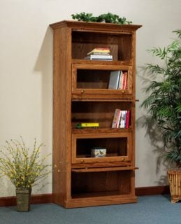 Traditional bookcase with glass doors and hardwood build.