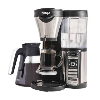 Ninja coffee bar brewer with 5 cup sizes and auto-IQ one-touch intelligence system.