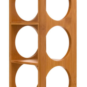 Contemporary stackable wine rack with bamboo built and compact design.